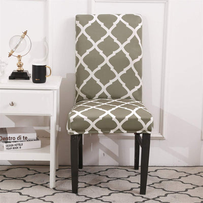 Green Plaid Stretch Dining Chair Covers Elastic Chair Seat Protector for Dining Wedding Banquet Party Decoration