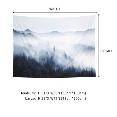 Misty Fog Forest Tapestry Trees and Mountain Fantastic Magical 3D Vision Nature Landscape for Bedroom Living Room Dorm