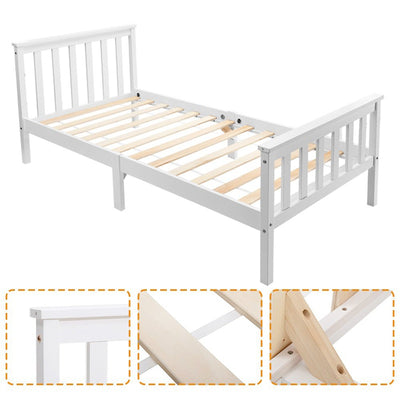 White Solid Pine Wooden Bed Frame 3FT 4FT Single Double Bed