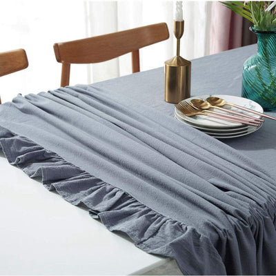 Vintage Rectangle Solid Color Ruffle-trim Tablecloth Washable Cotton Linen for Kitchen Wedding Tabletop Cover