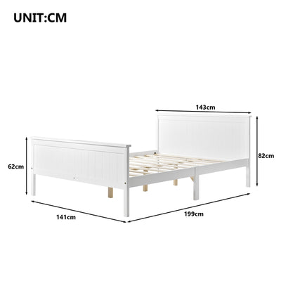 Compact Wooden Bed Frame with Headboard and Footboard Bedroom 140 x 190