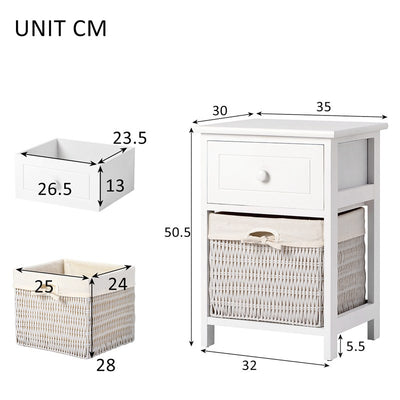 Fully Assembled Wooden Beside Table with Wicker Basket Solid Cabinet