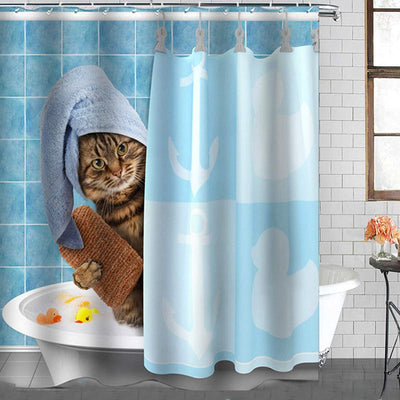 Cat Pattern Bathroom Shower Curtain Mould Proof Resistant Washable 3d Polyester Bath Curtian