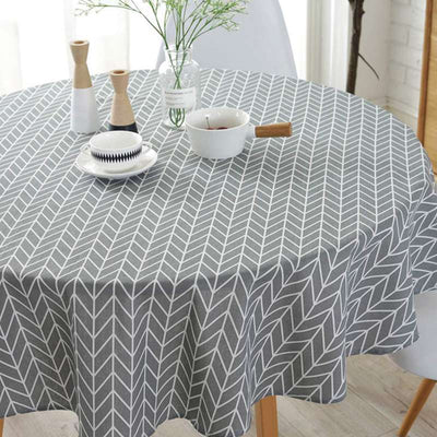 Round Simple Morden Tablecloth for Circular Cotton Linen Table Cover for Parties Holiday Dinner Table
