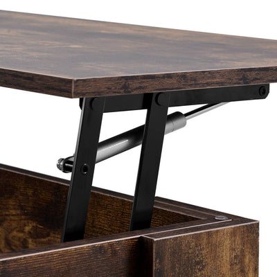 Wooden Lift Up Coffee Table with Storage Space & Shelf 100x45x49cm