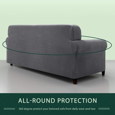 Grey Sofa Covers Stretch Fabric Furniture Protector with Elastic Bottom Checks Durable Spandex Fabric