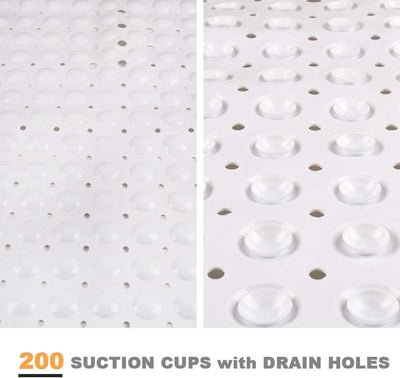 100x40cm Extra Long Non-slip Bath Mats Shower Mildew Resistant Bathtub Mats Suction Cup Bathroom Machine Washable
