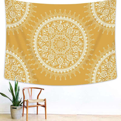 Yellow Mandala Tapestry Bohemian Indian Hippie Wall Hanging Room Aesthetic Tapestry Beach Blanket Wall Art