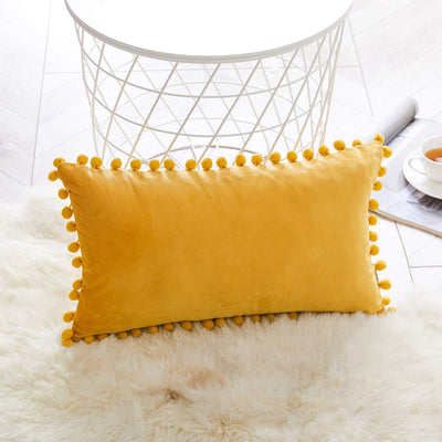 "Pack of 2 Multi-Size Orange Yellow Tassel Soft Velvet Cushion Covers Balls Decorative Throw Pillowcase Cover 12x20"" 18x18"""