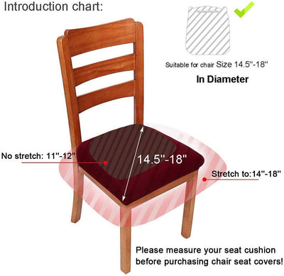 Black Stretch Chair Seat Covers for Dining Room Jacquard Dining Chair Seat Protectors Chair Slipcovers