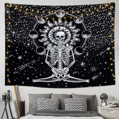 Meditation Skeleton Skull Tapestries Moon Eclipse Wall Hanging Black and White Starry Night Sky for Living Room Bedroom