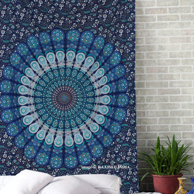 Blue Mandala Tapestry Bohemian Aesthetic Wall Hanging Room Decor Indian Hippie Beach Blanket
