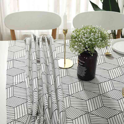 Rectangle Tablecloth Geometric Style Cotton Linen Table Cloth for Kitchen Dinning Tabletop Decoration