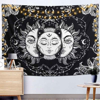 Sun and Moon Tapestry Burning Sun with Star Psychedelic Wall Hanging Black and White Mystic Mandala for Bedroom