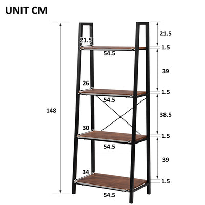 Retro Ladder Shelf Metal Frame Bookshelf Plant Stand Storage