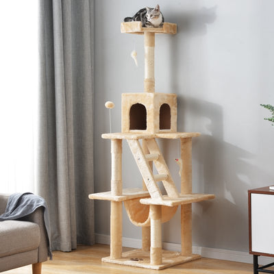 Large Cat Tree Play Tower Scratcher Activity Centres Scratching Post with Ladders Condo