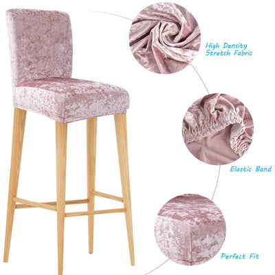 Pink Chair Cover Gold Diamond Velvet Elastic Thick High Stool Hotel Household Solid Color Stool Cover