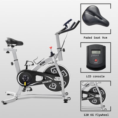 Home Exercise Bike 18lb 8kg Flywheel Cardio Workout Spinning Fitness Bike LCD Console Adjustable Seat & Handlebars