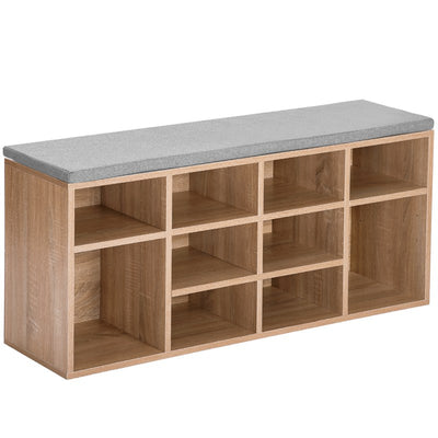 Wooden 10-Grids Shoe Bench with Seat Storage Cabinet