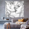 Abstract Sketch Art Tapestry Wall Hanging Kissing Lovers Bedroom Living Room Dorm Wall Simple Decor