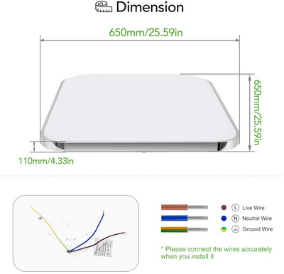 LED Square Flush Ceiling Lights Remote Control IP54 Waterproof 16W-96W