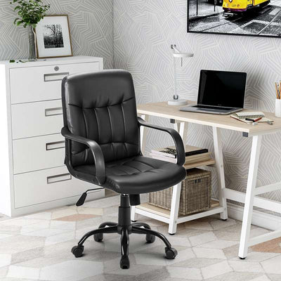 Black Executive Chair Recline Office Adjustable Seat Faux Leather Home