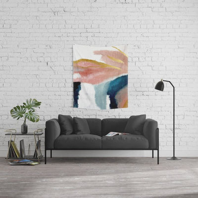 Abstract Wall Tapestry in Pinks Blues and Gold Home Decor