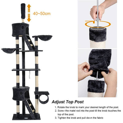 Adjustable Cat Tree Floor to Ceiling Scratching Post Activity Centre Climbing Tower 240-260cm