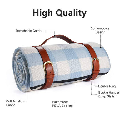 Blue Plaid Foldable Picnic Blankets with Leather Handle Large Waterproof Backing Washable Portable Rug Mat Beach Camping Grass Travel