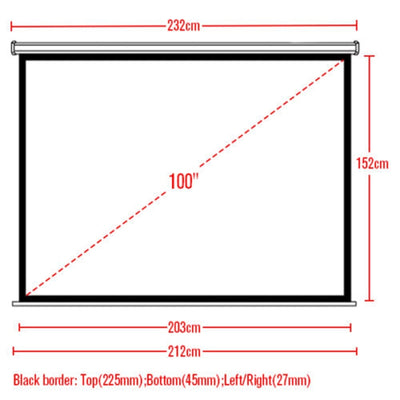 "100"" 4:3 Electric Motorized Projector Screen Matte White with Remote Control, HD/3D/1080P TV DVD Home Theatre/Office/Cinema"