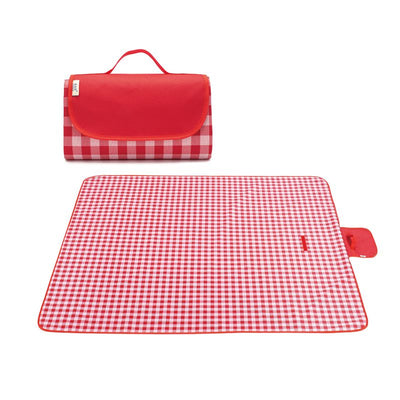 Red Plaid Picnic Blanket with Handle Lightweight Large Backing Waterproof Washable Portable Rug Mat Family Beach/Park/Hiking/Camping