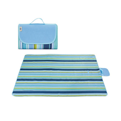 Blue Stripe Lightweight Foldable Picnic Blanket with Handle Large Backing Waterproof Washable Portable Rug Mat Beach/Park/Hiking/Camping