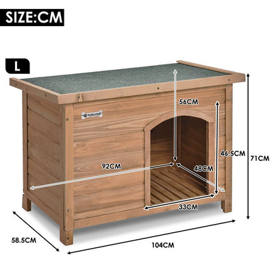 Animal House Dog Kennel Garden Crate with Removable Floor and Openable Slanted Roof
