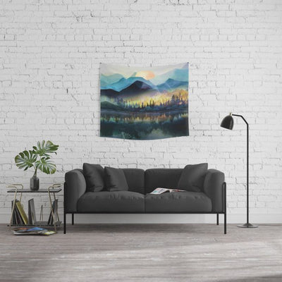 Mountain Lake Under Sunrise Wall Tapestry Home Decor Wall Hanging