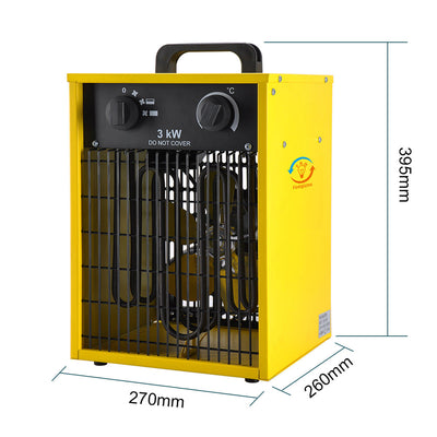 3KW Electric Outdoor Industrial Fan Heater - 3 Heat Adjustable Thermostat, IPX4 Waterproof
