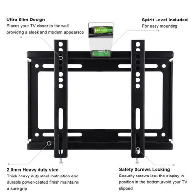 Slim TV Wall Mount Bracket For LED LCD 14- 42 inch Plasma 3D HDTV