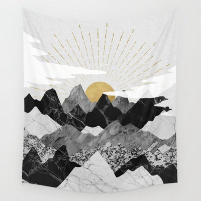 Yellow Sun Ray Wall Tapestry Mountain in Black White Grey Home Decor