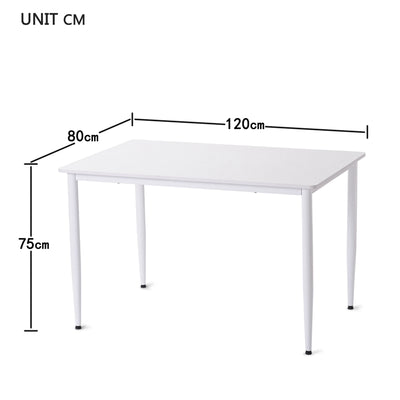 Simple White Steel Frame Rectangle Table 120x80cm Adjustable Legs Height