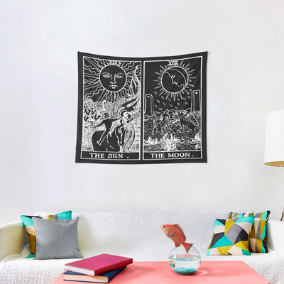 The Sun and Moon Tarot Cards Wall Tapestry Home Decor Wall Hanging