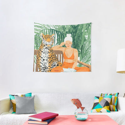 Leopard and girl painting Art Tapestry Home Decor Wall Hanging