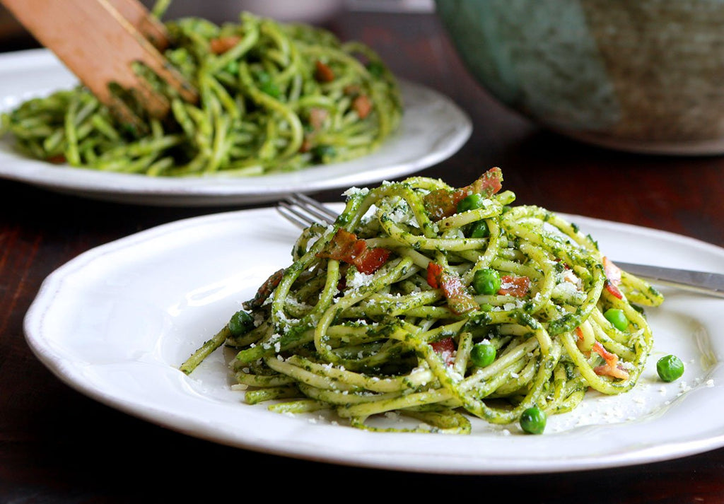 Weeknight Bucatini, Bacon and Peas with Spinach Pesto