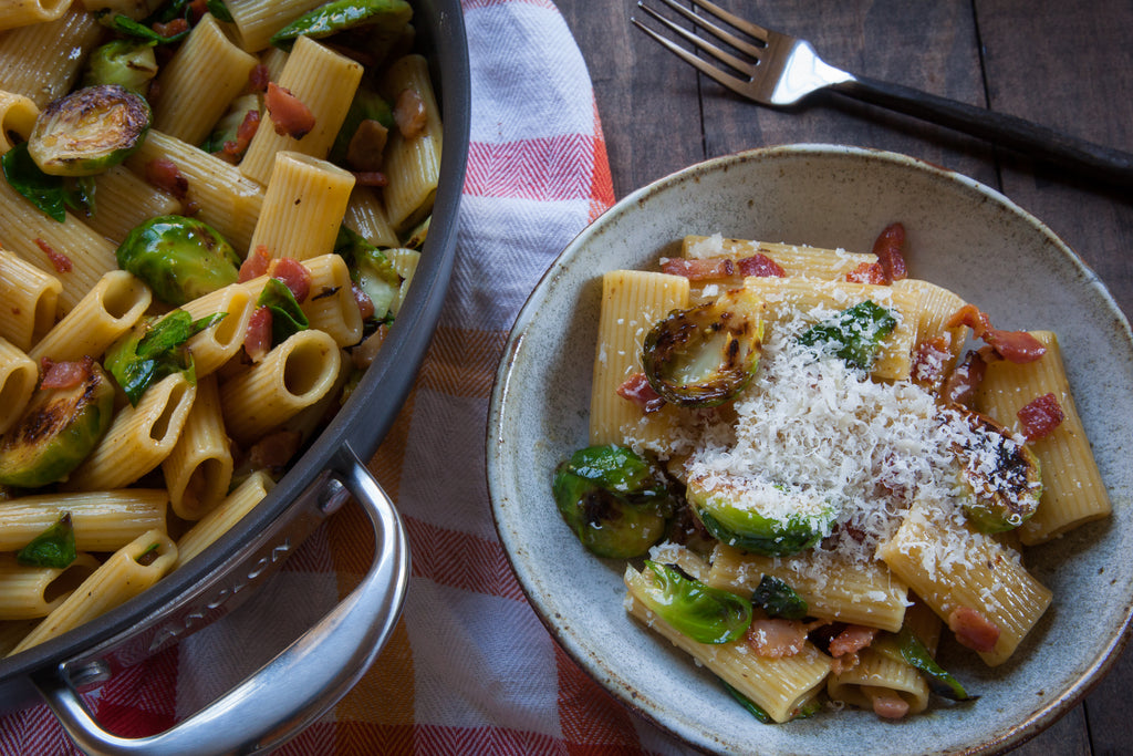 Bacon Carbonara Pasta with Brussels Sprouts