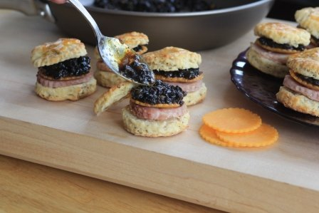 Country Ham and Cheddar on Biscuits with Currant-Mustard Chutney