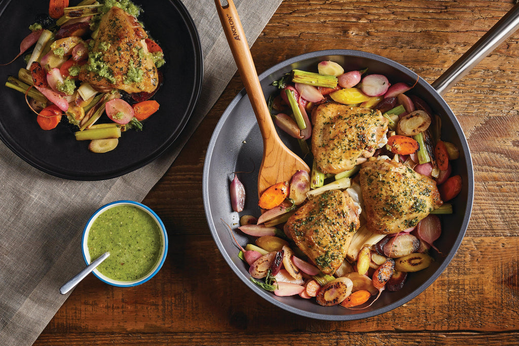Pan-Roasted Chicken and Spring Vegetables with Salsa Verde