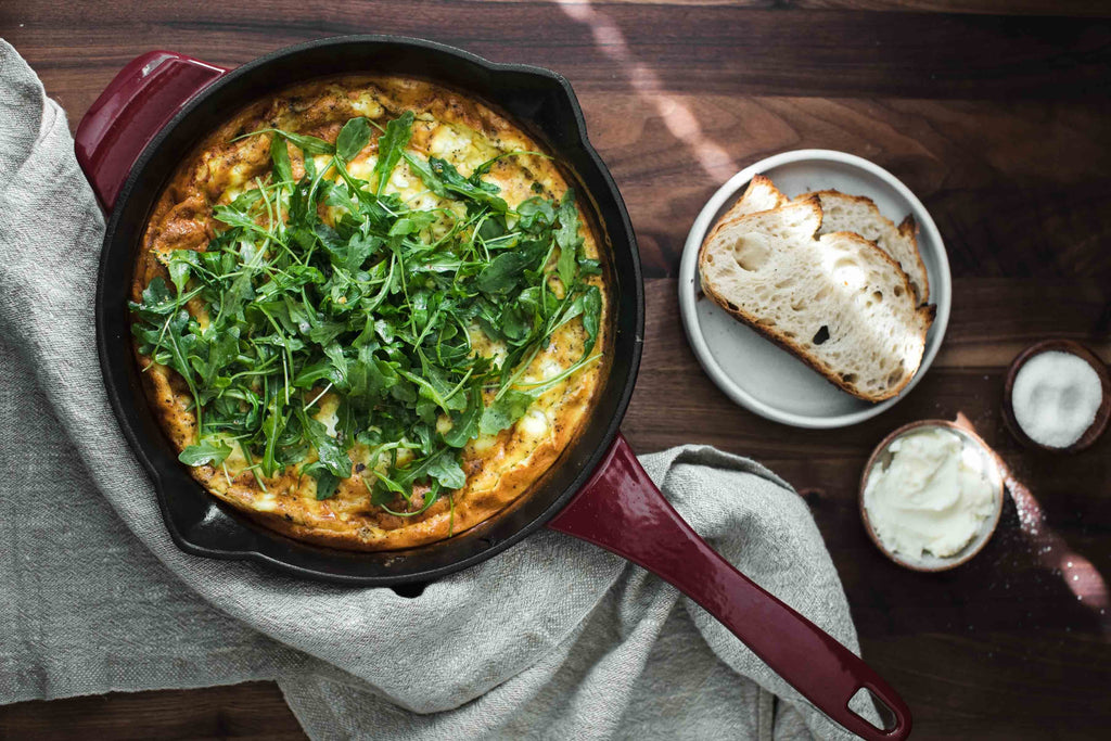 Onion Frittata with Goat Cheese and Arugula