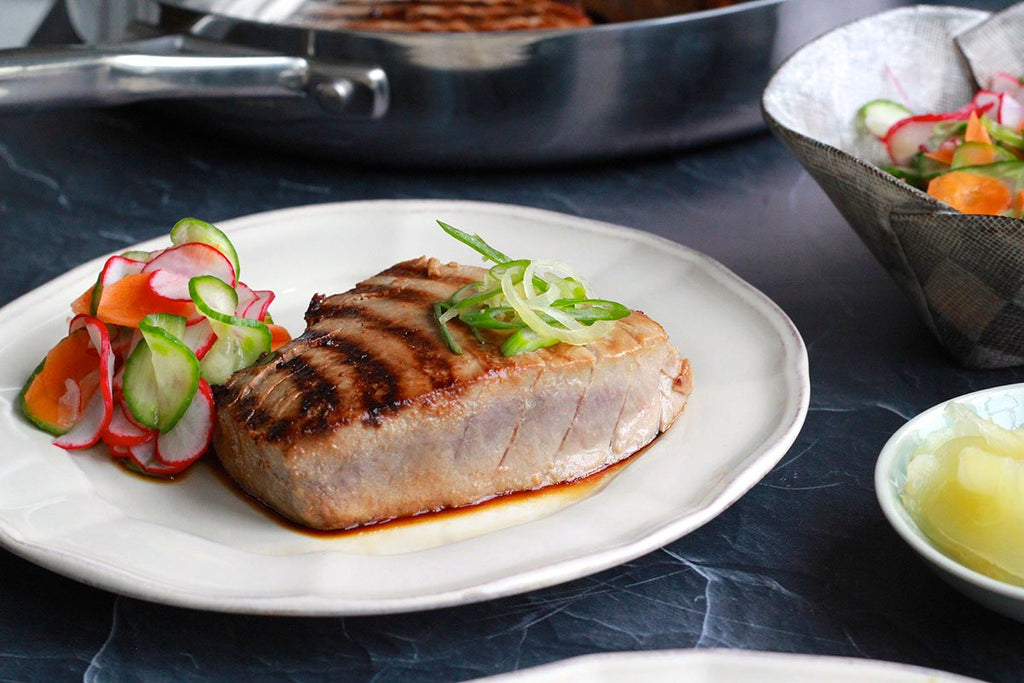 Weekend Grilled Miso Marinated Tuna with Radish Slaw and Pickled Ginger