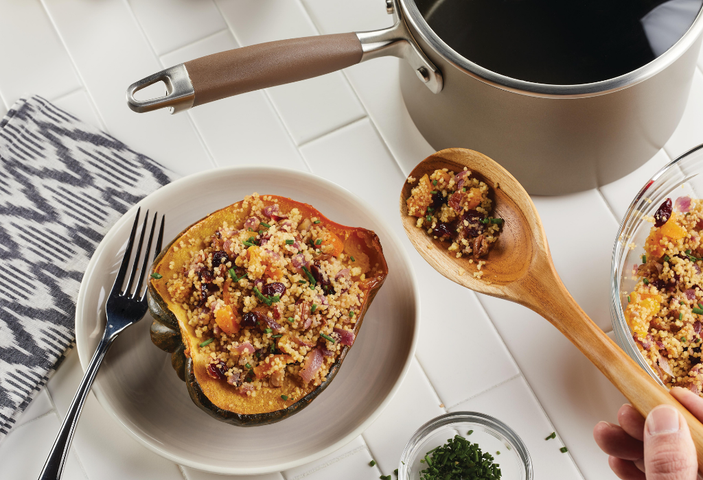 Stuffed Roasted Acorn Squash with Apricot Couscous