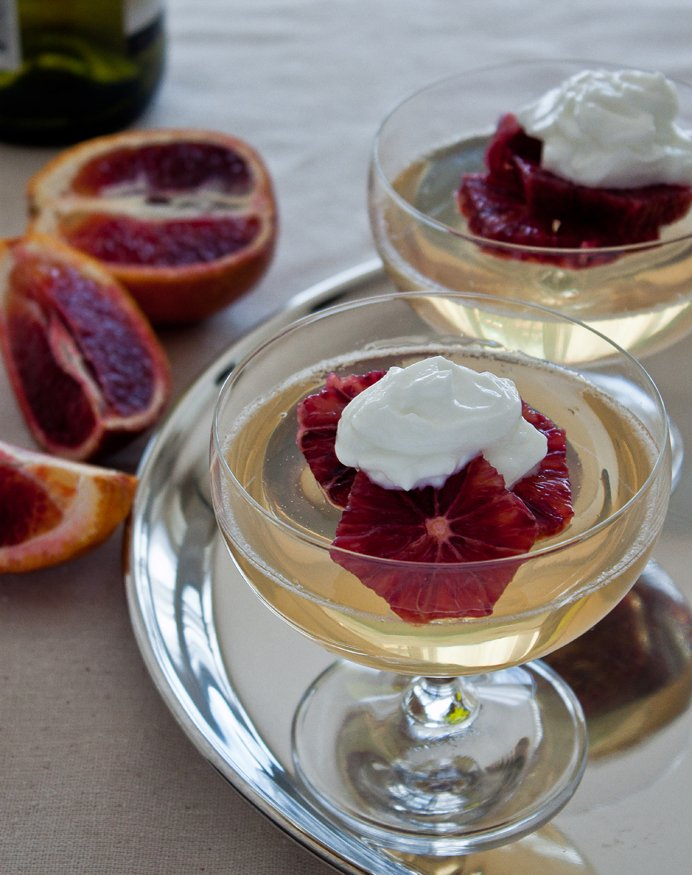 Moscato Gelée with Blood Oranges