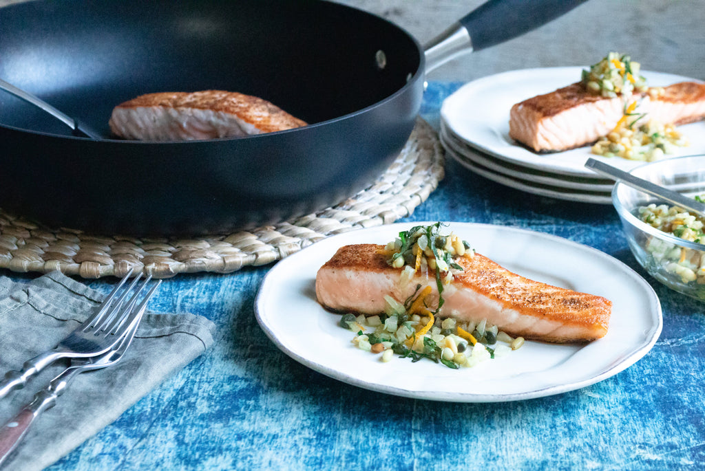 Seared Salmon with Pine Nut, Caper and Fennel Topping