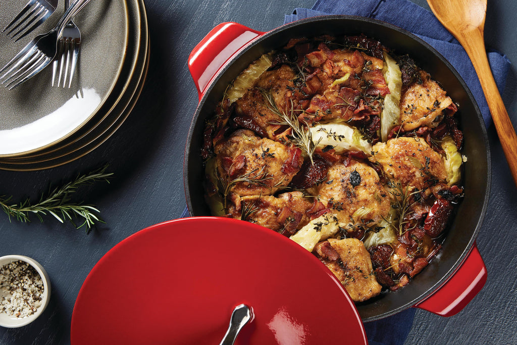 Chicken Thighs Braised with Cabbage, Herbs, & Sun-Dried Tomatoes